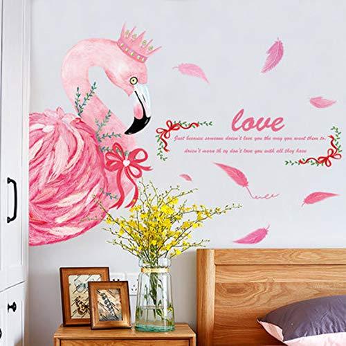 Wandaufkleber Mädchen Herz Raumdekorationen Layout Kreative Warme Schlafzimmer Nachttisch Flamingo Aufkleber
