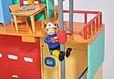 Simba 109258282 - Feuerwehrmann Sam Neue Feuerwehrstation mit Steele Figur / Zum Aufklappen / Drehscheibe für Jupiter / Mit Licht und Sound / 41x33cm / 2 Tore zum Öffnen Vergleich