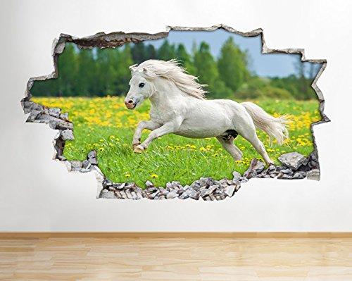 tekkdesigns A268weiß Pferd Pony Mädchen grün natur Wand Aufkleber 3D Poster Art Aufkleber Vinyl Kids Schlafzimmer Baby Kinderzimmer Cool Wohnzimmer Hall Jungen Mädchen (groß (90x 52cm)) (Vinyl-wand-aufkleber)