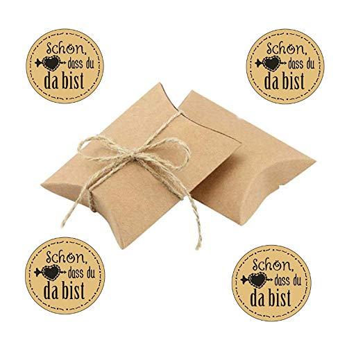 Anyasen 100 Stück Kraftpapier Geschenkbox klein mit Aufkleber Sticker Geschenkschachtel Kartonage Kleine Papiertüten Hochzeit Gastgeschenke Vintage-Stil Geschenkboxen mit Juteschnur