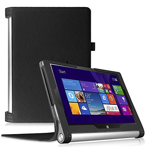 Fintie Lenovo Yoga Tablet 2 (10,1 Zoll FHD IPS) Hülle Case Cover Tasche Etui - Folio Kunstleder Schutzhülle mit Auto Sleep / Wake (geeignet für Lenovo Yoga Tablet 2-10 25,7 cm Tablet (Android und Windows Version), Schwarz