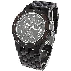 Bewell Wooden Watch for Men Multi Dial Quartz Wrist Watches 30M Waterproof, Ebony by Funkytop