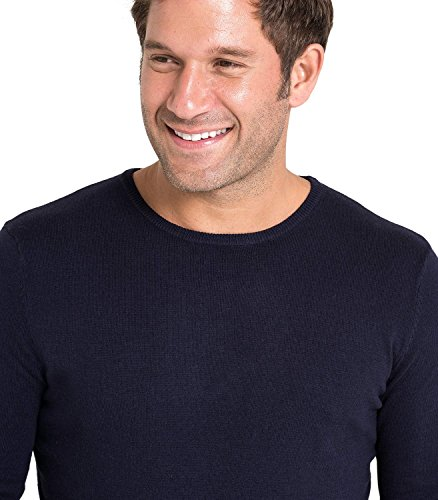 WoolOvers Pullover mit Rundhalsausschnitt aus Baumwolle-Seide für Herren Navy