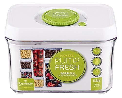 Pioneer Pump Fresh Action Vakuum Seal Kanister Food Storage Tupperware Box, rechteckig, Plastik, weiß/grün, 1000 ml -