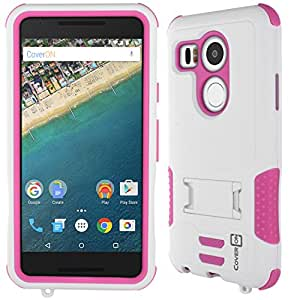 LG Google Nexus 5X Case, CoverON® [DuraShield Series] Drop Proof Phone Cover Grip + Bumper + Stand Hybrid Case For LG Google Nexus 5X - Hot Pink White