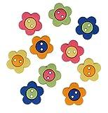 Botones Galore Diseño con Motivos geométricos de Flores diseño de botón de plástico Resistente, Multi-Color