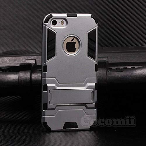 Cocomii Iron Man Armor iPhone SE/5S/5C/5 Hülle NEU [Strapazierfähig] Taktisch Griff Ständer Stoßfest Gehäuse [Militärisch Verteidiger] Case Schutzhülle for Apple iPhone SE/5S/5C/5 (I.Silver) (Body Armor 5c Iphone)