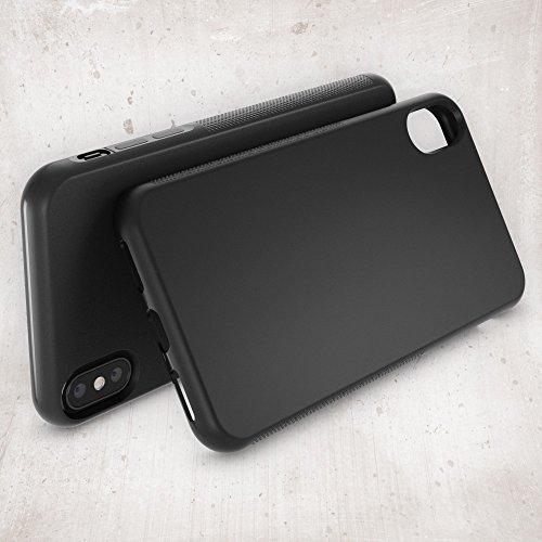 Apple iPhone X Coque Protection de NICA, Housse Silicone Portable Mince Souple, Tele-Phone Case Anti-Derapante Cover Premium, Incassable Ultra-Fine Resistante Bumper Etui pour iP-X, Couleur:Gris Noir