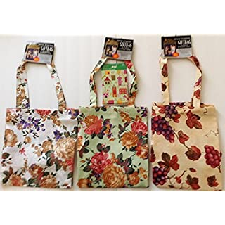 Azar Bundle of 4-3 Fabric Tote Bags in 3 Floral Designs and 1 Package of Blank Note Cards