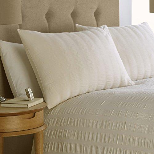 Mason Gray Seersucker 100% Cotton 200 Thread Count Bedding Duvet Cover 2 Pillowcase Set, Ivory – King Size