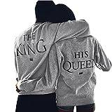 Fulltime Amant de la Reine/King Imprimer Lettre T-Shirt Couple Manches Longues Tops (XL, Femmes)