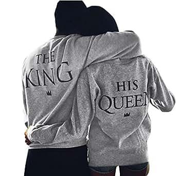 Fulltime® Amant de la Reine / King Imprimer Lettre T-shirt couple manches longues Tops (S, femmes)