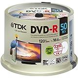 TDK pour l'enregistrement DVD-R Diffusion numérique 1–16x (White-wide) Jet d'encre d'imprimante compatible 50-disc Spindle Dr120dpwc50pue