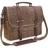NEWHEY Herren Umhängetaschen Aktentasche Laptoptasche Wasserdichte Canvas Groß  Arbeitstasche Messenger Bag Männer Vintage 15.6 Braun