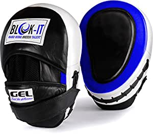 GEL Focus Pads: By Blok-IT --- [Focus Mitts, Punch Mitts, Hook & Jab Pads, Punching Mitts] --- Suitable For Boxing, MMA, Thai Boxing, Kickboxing, Boxercise, Karate, Taekwondo, Krav Maga, Wing Chun & Other Martial Arts (Blau)