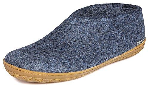 Glerups Modell AR Modischer Erwachsenen Hausschuh für Damen & Herren aus Wolle, mit Rutschfester Gummisohle und Kleiner Hinterkappe, entspricht Modell A nur mit Gummisohle Blau (Denim), EU 45