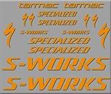 Ecoshirt 2R-YAWT-REVL Aufkleber S-Works Tarmac Bike R272 Stickers Aufkleber Decals Autocollants Adesiv, Orange