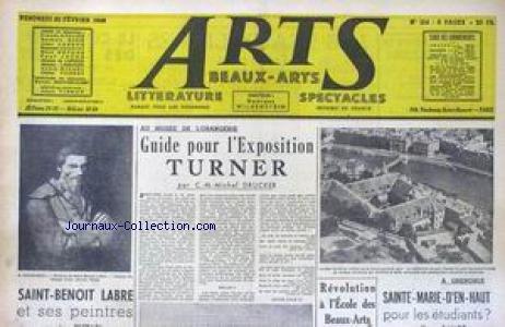ARTS [No 154] du 20/02/1948 - ORANGERIE - GUIDE POUR L'EXPOSTION TURNER PAR C.M. MICHEL DRUCKER - SAINT-BENOT LABRE - SAINT-MARIE-D'EN-HAUT POUR LES ETIDIANTS - GRENOBLE.