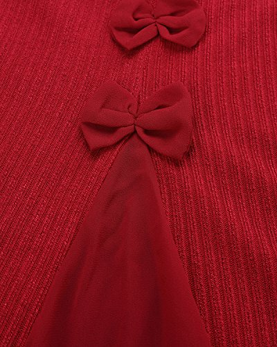 ZANZEA Femme Sweater Tricot Lâce Manche longue Haut Pull Mini-robe Cardigan Sweats Rouge