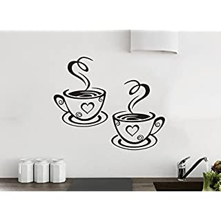 2 Coffee Cups Kitchen Wall Tea Sticker Vinyl Decal Art Restaurant Pub Decor Love by Wall4stickers