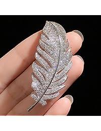 TT Pluma Femenina Feather Feather Embutido Zircon Zircon Broche Pins Accesorios de Decoración,Plata