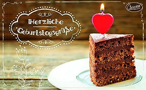 Carte postale anniversaire avec gourde de chocolat garni Motif: Gâteaux