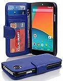 Cadorabo Hülle für LG Nexus 5 Hülle in Neptun blau Handyhülle mit 3 Kartenfächern Case Cover Schutzhülle Etui Tasche Book Klapp Style Neptun-Blau