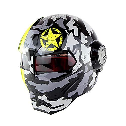 XYL Motorradhelm Full Face D.O.T-Zertifiziert Motocross Persönlichkeit Moto Flip Open Mask Harley Iron Man Roller Motorradhelm Camouflage,Gray,M