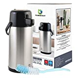 Airpot Coffee Carafe - TOMAKEIT 3L(102 Oz) Thermal Beverage Dispenser Insulated Stainless Steel