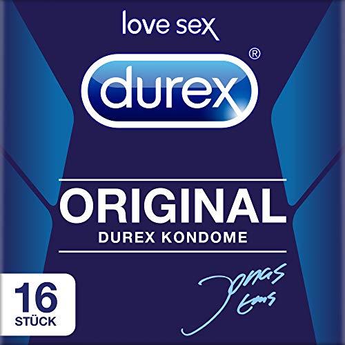 Durex Original Kondome – Kondome mit schmaler Passform und extra Gleitgelbeschichtung - im wiederverschließbaren Beutel – 2er Pack (2 x 8 Stück)