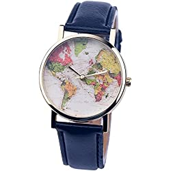 PSFY 2016 new styles leather watches with Black world map watch Unisex watches wristwatch