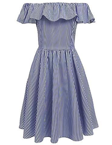 Meaneor Damen Schulterfreikleid Gestreiftes Sommerkleid Minikleid mit Carmenausschnitt Freizeitkeid Partykleid