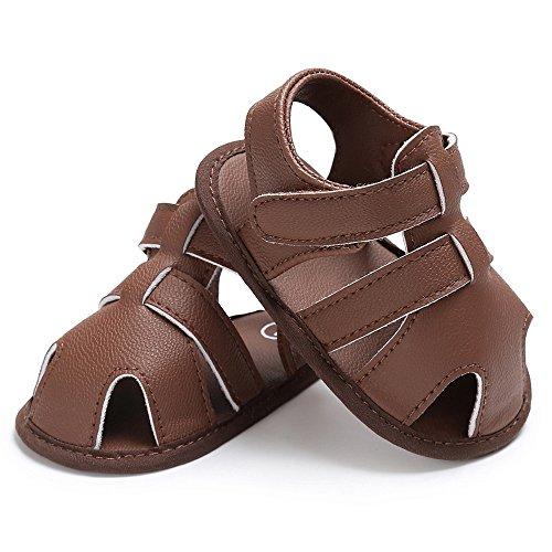 Topgrowth Bambini Bambino Bambini Carino Presepe Scarpe t-Legato Morbido Precamminatore Soft Suola Anti-Slip Newbornshoes Sandali Marrone