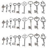 27 Nachschlüssel Anhänger-Set in Antik Silber 9 verschiedene Stile - Vintage Stil Schlüssel-Anhänger Silber