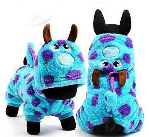 Blaue Monster Kostüm Kleine - DaHanBL Hundekostüm mit Kapuze und Drachen-Monster-Kostüm