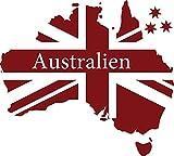 GRAZDesign 630204_57_030 Wandtattoo für Wohnzimmer Sticker Landkarte Kontinent Australien Flagge Sydney (63x57cm//030 dunkelrot)