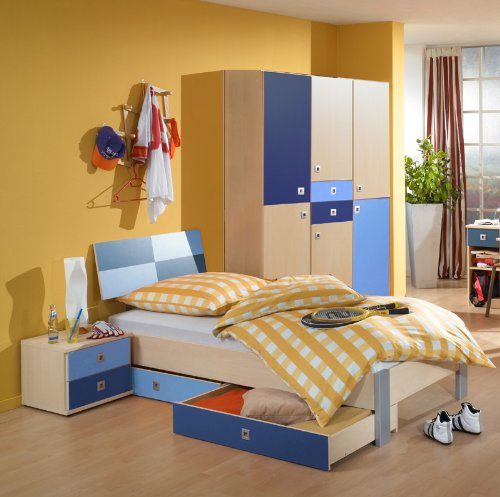 Komplett Kinderzimmer Jugendzimmer 5tlg-Set Ahorn - blau Kleiderschrank - Ahorn Set Kleiderschrank
