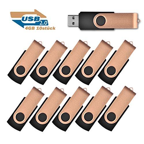 4GB USB-Stick 2.0 Flash Laufwerke Speicherstick, 10 stück Gold - Swivel 4 Gb Usb