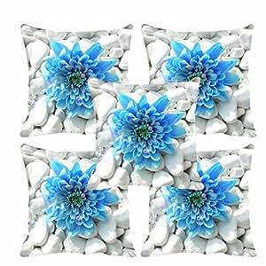"meSleep Flower 5 Piece Satin Cushion Cover Set - 16""x16"", Blue"