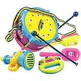 ZREAL 486/5000 5 Teile / satz Kinder Baby Infant Roll Drum Horn Musik Spielzeug Sets Mini Griff Hand Musikinstrumente Frühe Lernspielzeug