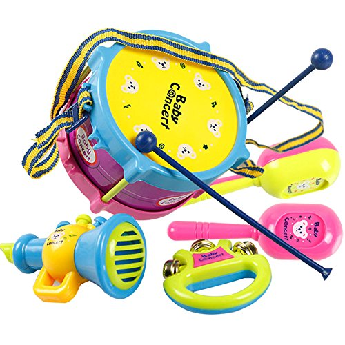 Kinder-elektro-drum-set (ZREAL 486/5000 5 Teile / satz Kinder Baby Infant Roll Drum Horn Musik Spielzeug Sets Mini Griff Hand Musikinstrumente Frühe Lernspielzeug)