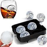 Hengbaixin 1 pièce 4 cellules en silicone Moule rond pour boules de glaçons à whisky Boule de glace 3D Plateau de boule de...