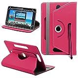 25,4cm Universal PU-Leder 360° Grad drehbar Winkel Ständer Case Cover Folio mit LCD Touch Screen Stylus Pen (Pink)