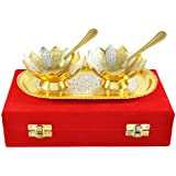 Jaipur Ace Richi Rich Gold and Silver Plated Brass Bowl Tray Set