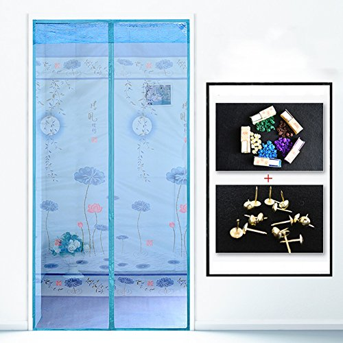 kele Verschlüsselung-fliegengitter, Sommer Leise Magnetische Weiche fliegengitter Home Schlafzimmer Fliegen Moskito Belüftung Bildschirm-Fenster Lachs-D 90x220cm(35x87inch) -