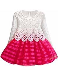 95ad1a97da Mädchen Kleid,Honestyi Mädchen Langarm Prinzessin Kleid Hohle Blume Mädchen  Kleid O-Ausschnitt Lange