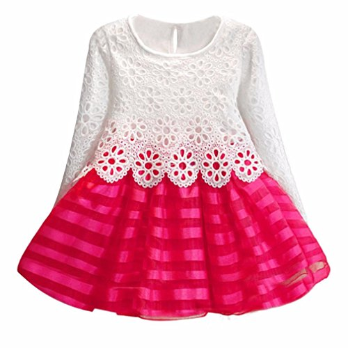 Mädchen Kleid,Honestyi Mädchen Langarm Prinzessin Kleid Hohle Blume Mädchen Kleid O-Ausschnitt Lange Ärmel Party Kleid Mode Elegantes Kleid (Rose Rot, 4-5Y/120)