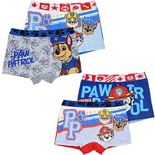 Paw Patrol Jungen 4 er Pack Boxershorts Unterhosen mit unterschiedlichen Motiven (Farbmix 3, Gr. 4-5 Jahre (Herstellergröße 104-110)) -