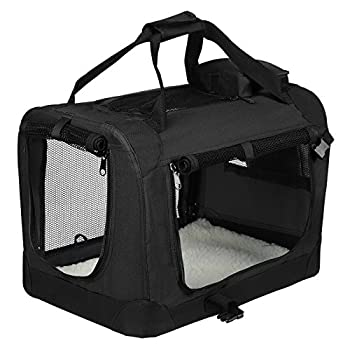 EUGAD 0115HT Cage de Transport en Oxford Sac de Transport Pliable pour Chien ou Chat,Noir 60x42x42cm