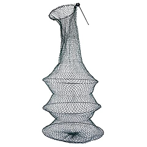 MagiDeal Durable Foldable 3 Layer Green Nylon Crab Lobster Fishing Keep Net Bag